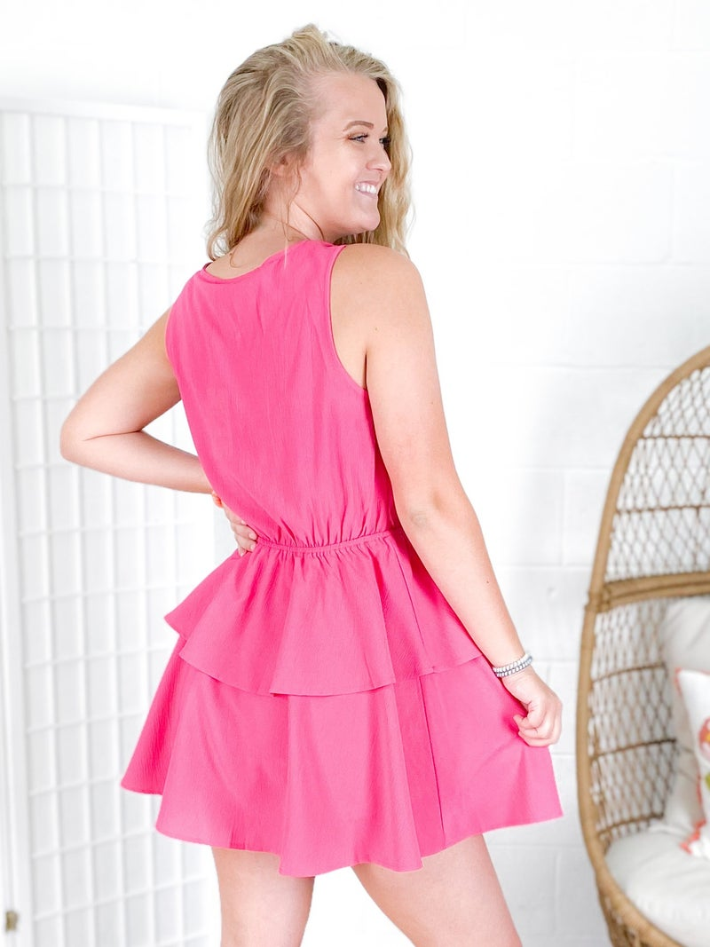 Ruffle Tiered Romper with Scallop Neckline (Multiple Colors)