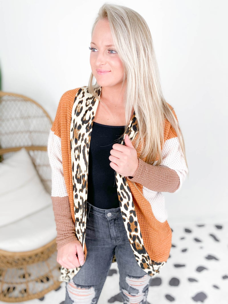 Color Block Waffle Knit Cardigan with Leopard Trim