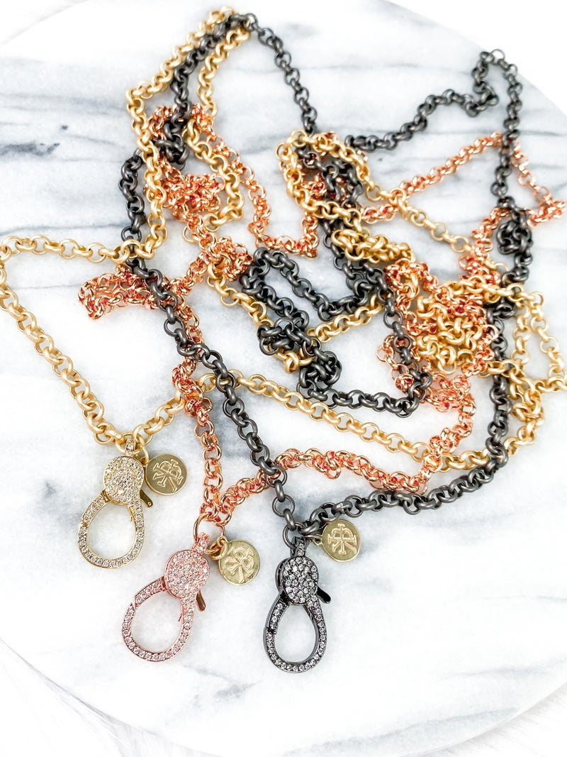 """RESTOCK! Karli Buxton 36"""" Rollo Attachment Chain with Pave Lobster Clasp (Multiple Colors)"""