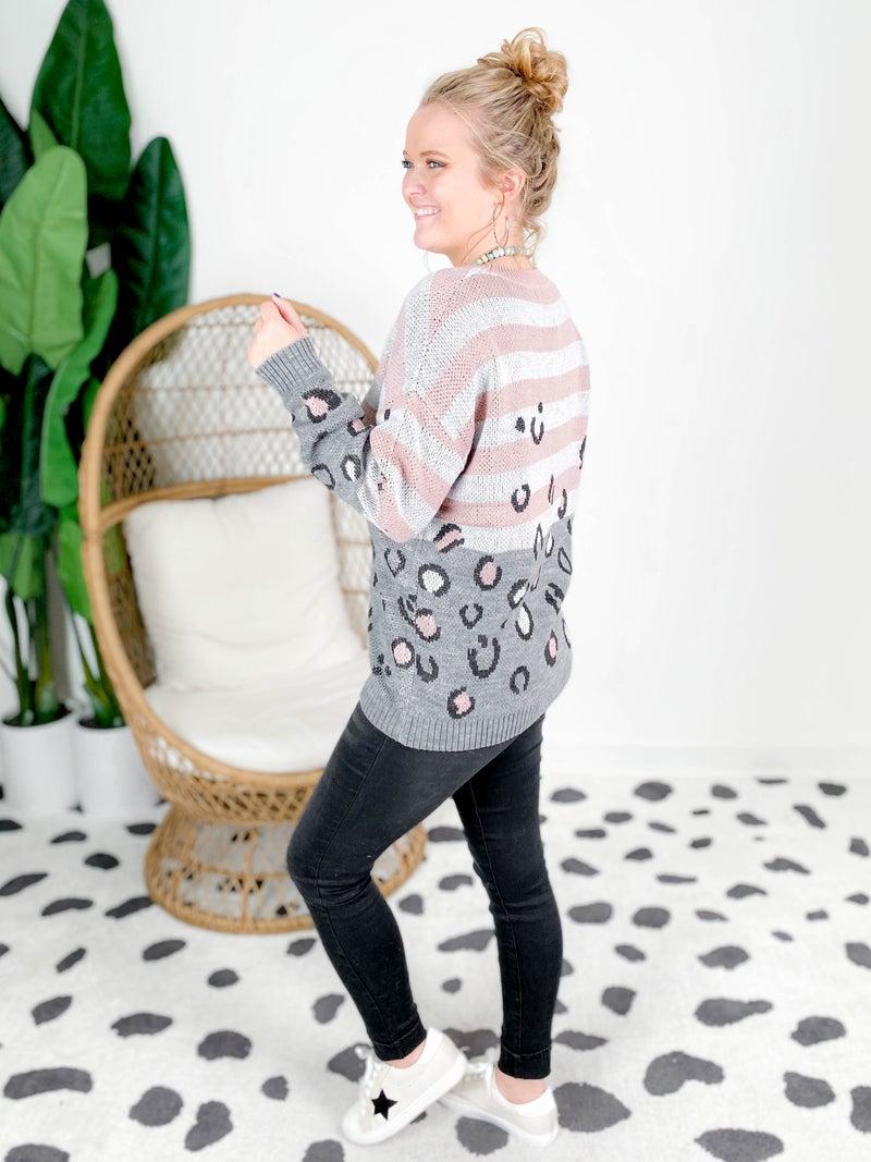 PLUS/REG Blush & Grey Leopard Stripe Sweater