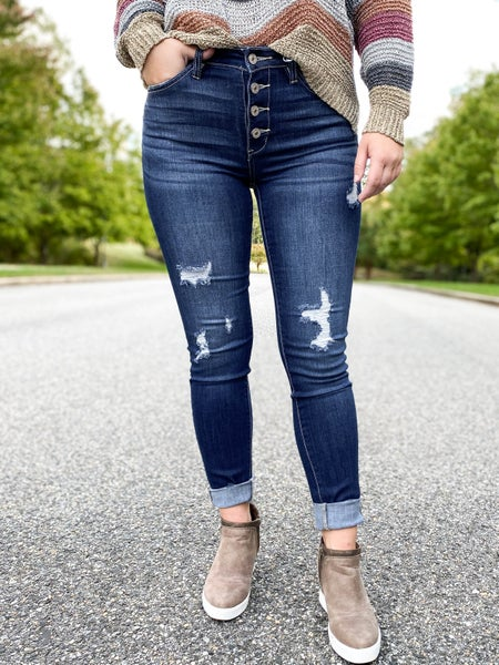 KanCan High Rise Button Fly Distressed Skinny Jeans