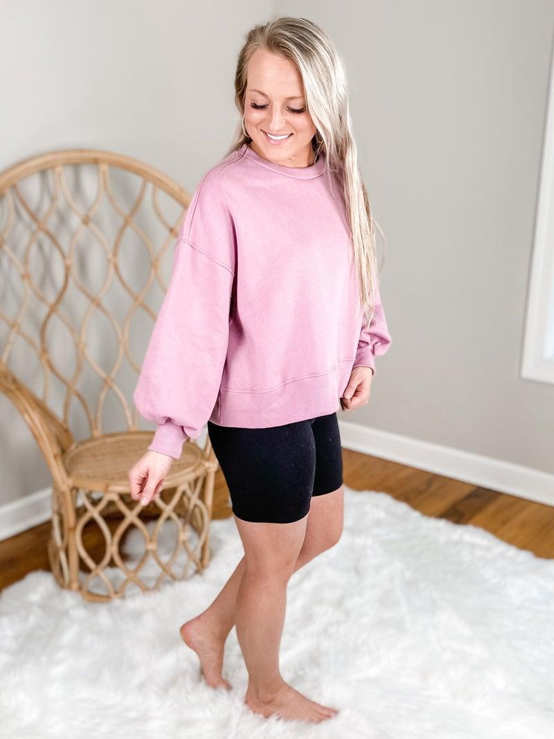 Door Buster! PLUS/REG Zenana Balloon Sleeve Sweatshirt (Multiple Colors)