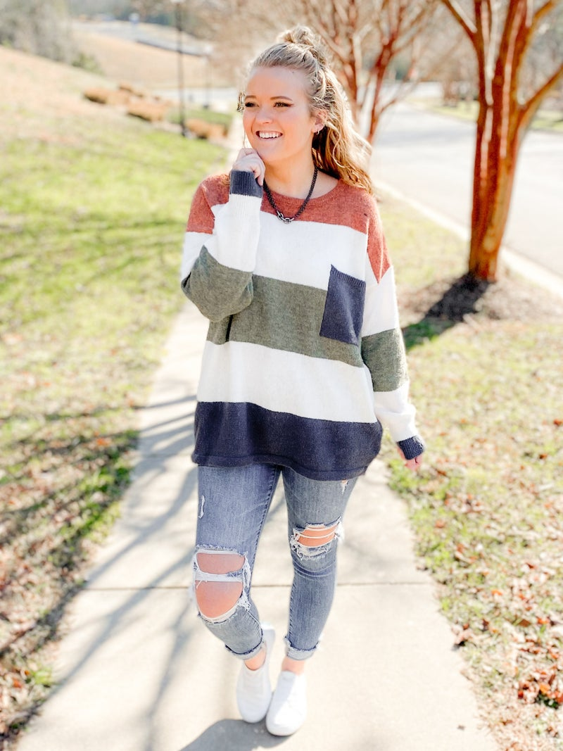 Multi Color Stripe Sweater Top With Pocket