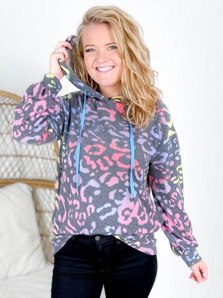 PLUS/REG Long Sleeve Multi Color Cheetah Print Hoodie