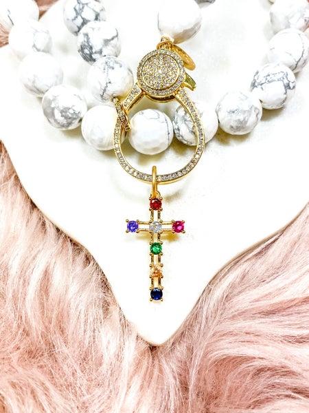 "Karli Buxton 1.25"" Rainbow Cross Pendant"