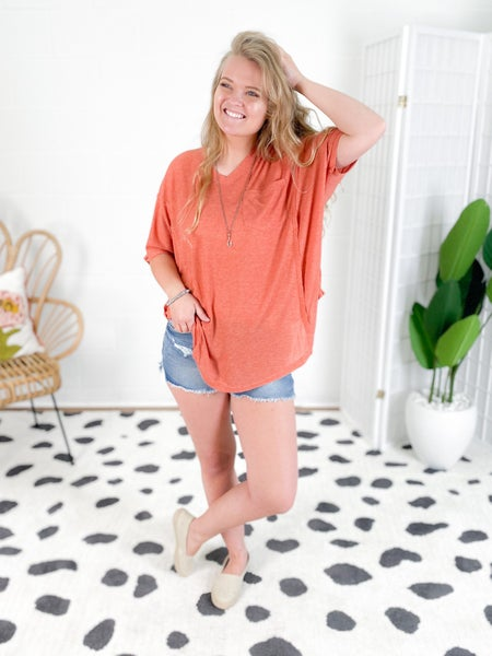Boxy Fit V Neck Tunic Top (Multiple Colors)