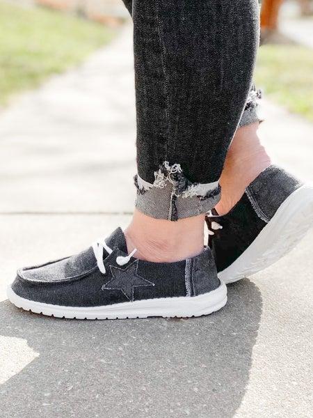 Hey Girl Black Slip On Sneakers With Star Detail