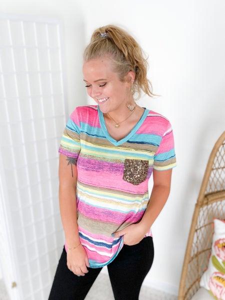 PLUS/REG Pink & Yellow Multi Stripe Gold Sequin Pocket Top