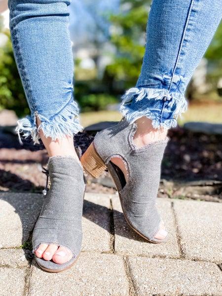 Grey Distressed Open Toe Block Heel Booties