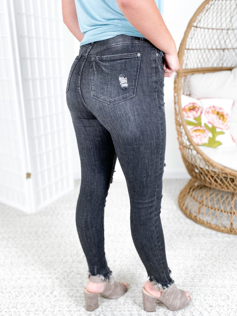 PLUS/REG Judy Blue Holy Smokes Distressed Button Fly Grey Skinny Jeans