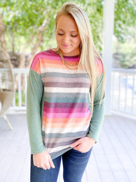 Striped Soft Brushed Top (Multiple Colors)