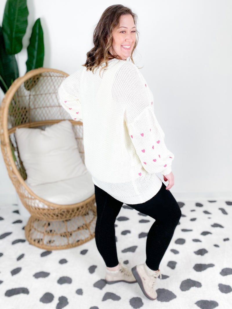 PLUS/REG Crewneck Embroidered Hearts Sweater