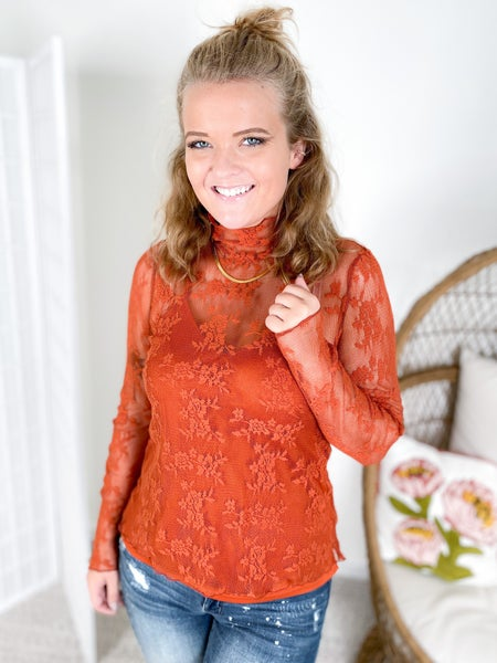 Pumpkin Spice Floral Mesh Lace Ruffle Neck Top with Cami Lining