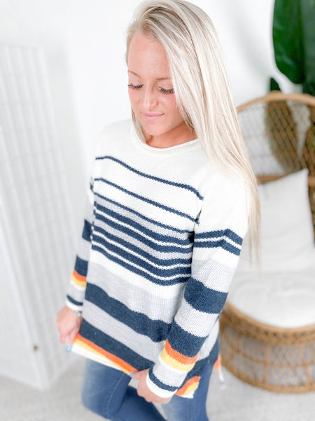 Navy & Orange Multi Stripe Long Sleeve Sweater