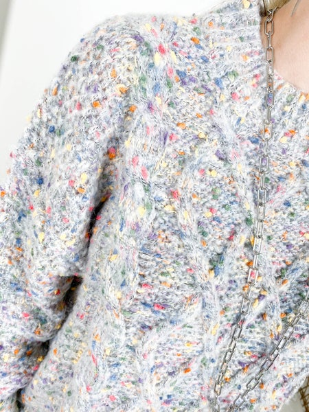Funfetti Cable Knit Sweater (Multiple Colors)