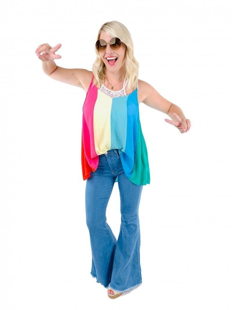Judy Blue Bringin' Groovy Back Flares (light and dark wash)