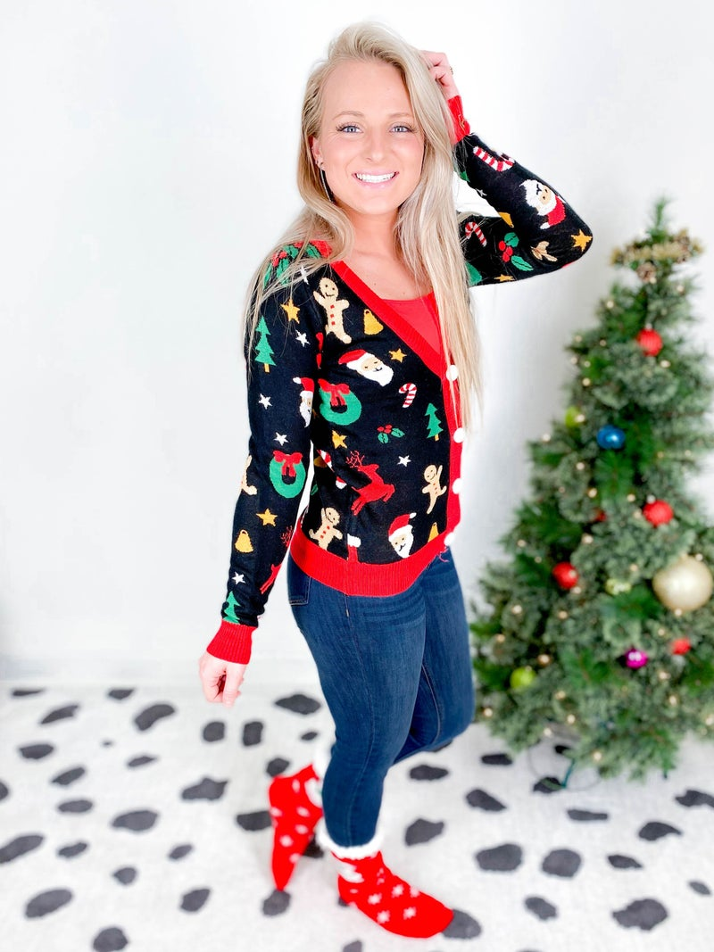 PLUS/REG Women's Cookie Cutter Christmas Cardigan