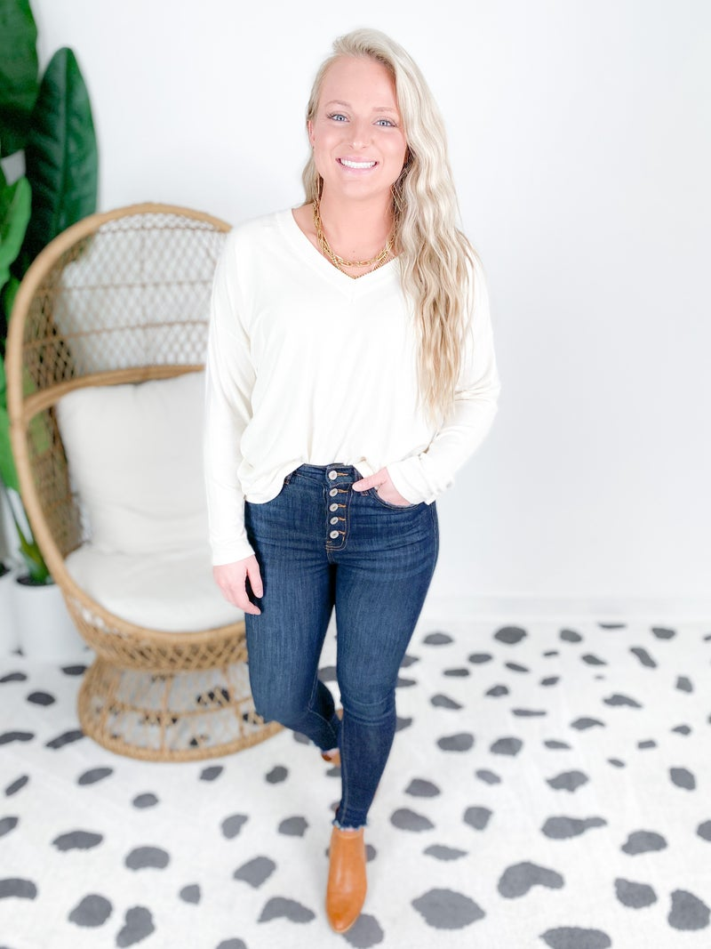 Long Sleeve V Neck Sweater With Ribbed Detail