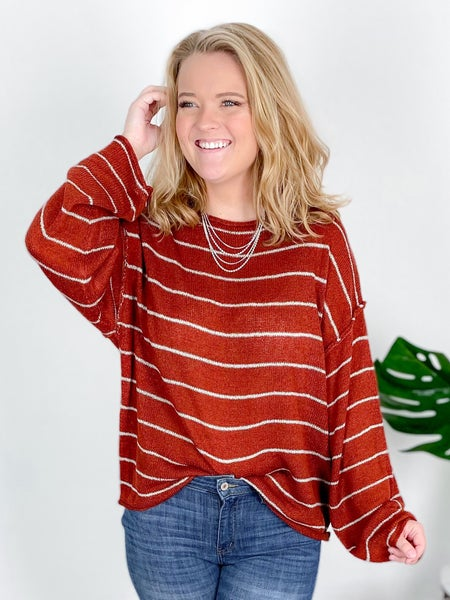 Stripe Drop Shoulder Sweater Top (Multiple Colors)