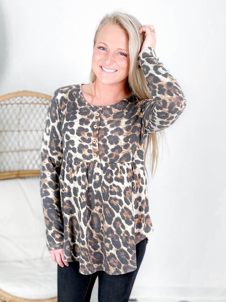 PLUS/REG Leopard Print Baby Doll Top With Buttons