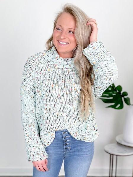 Sage Confetti Knit Turtleneck Sweater