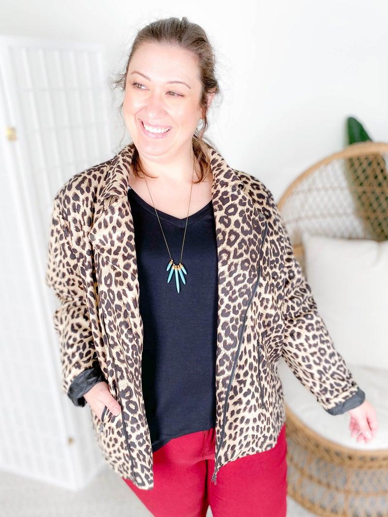 PLUS/REG Leopard Print Moto Jacket