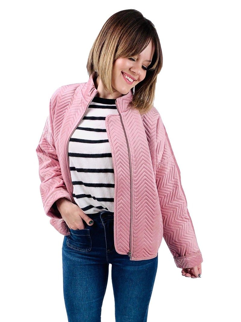 Blush Ribbed Bomber Jacket