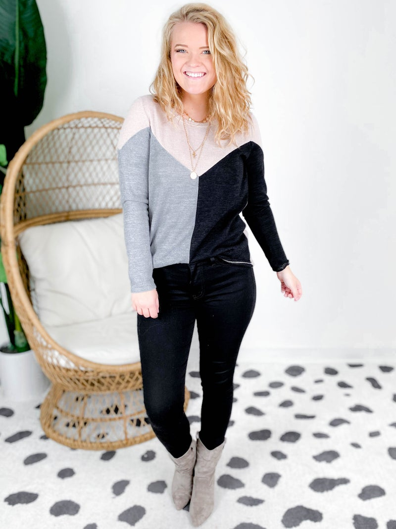 Color Block Knit Sweater (Multiple Colors)
