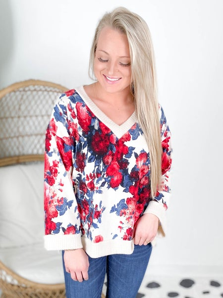 PLUS/REG Long Sleeve Floral Print Knit Top (Multiple Colors)