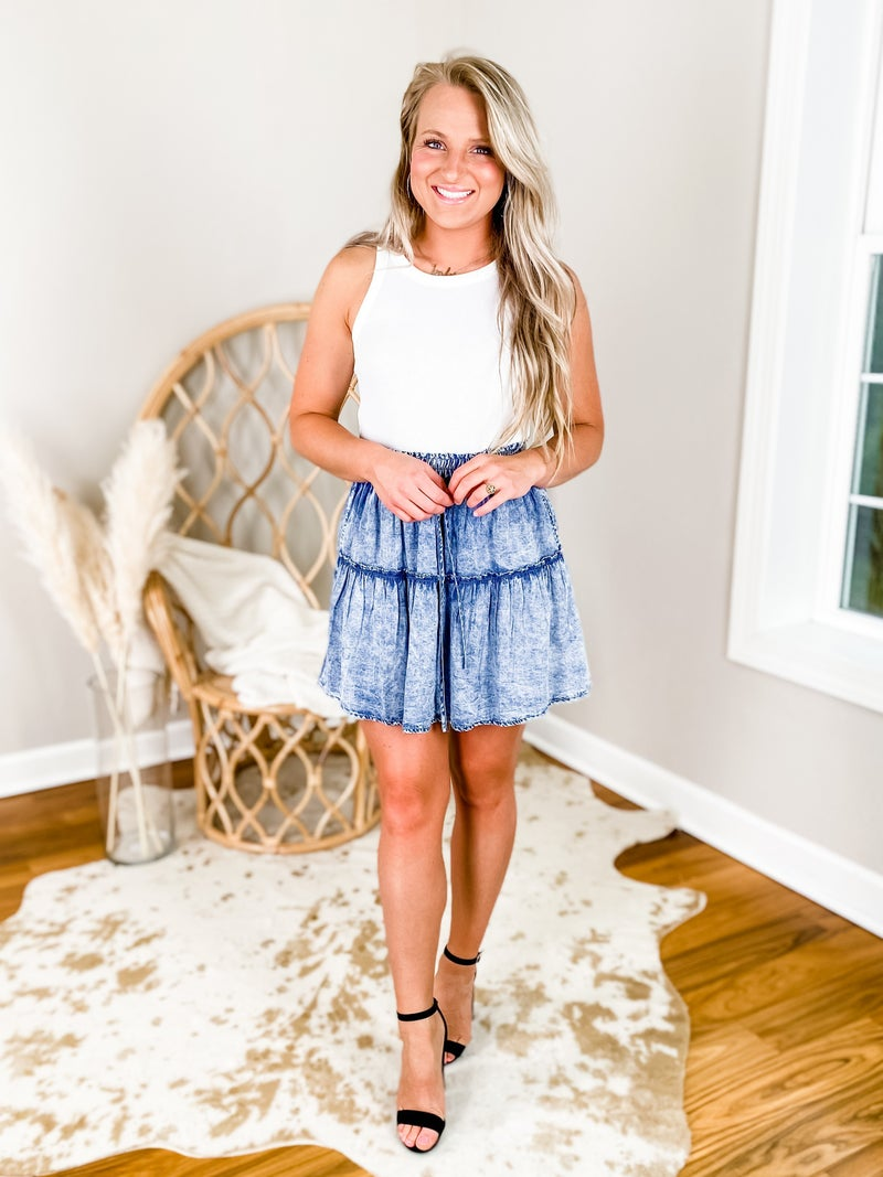 Solid Elastic Waist Denim Skirt With Ruffle Accent