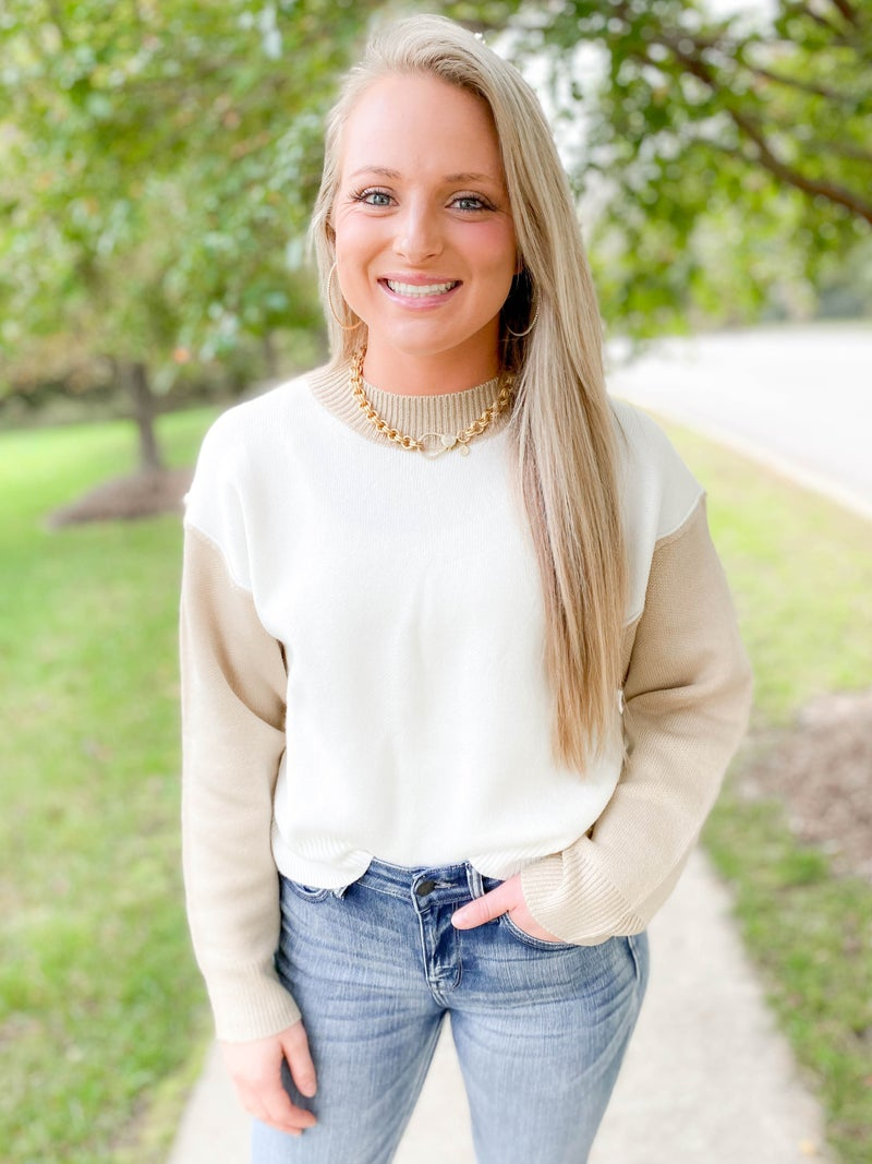 Cropped Sweater With Ivory Contrast Sleeve (Multiple Colors)