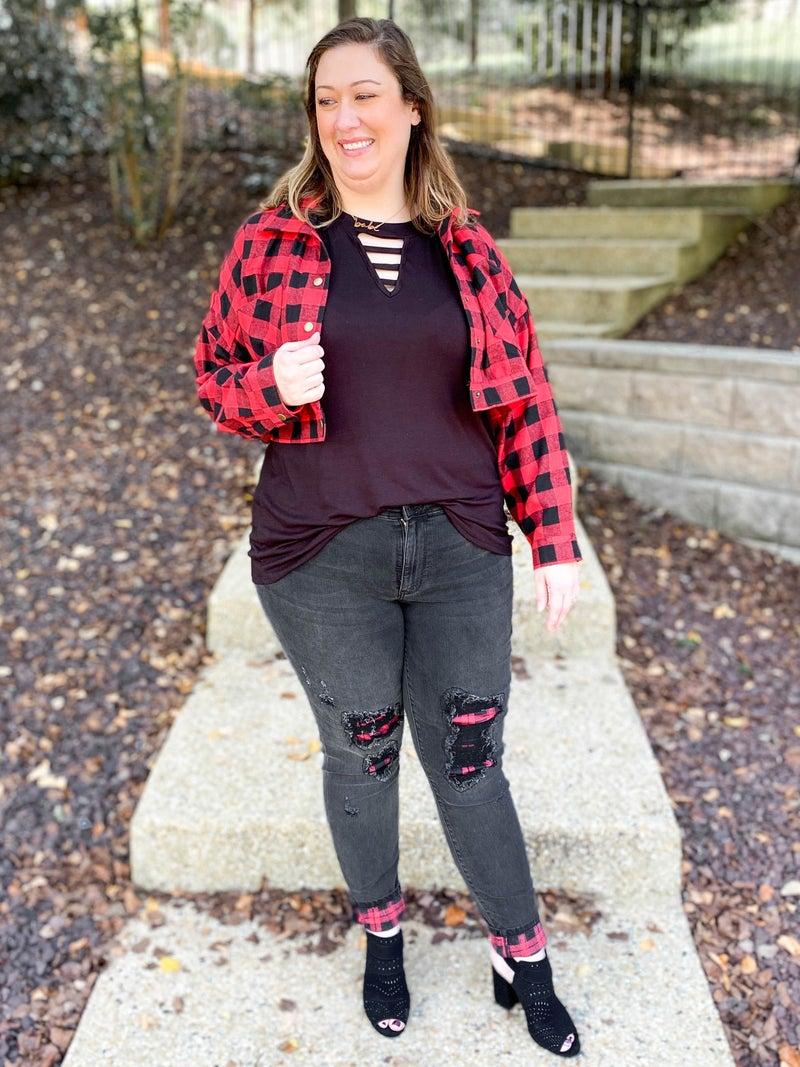 PLUS/REG Black Widow Judy Blue Buffalo Plaid Patch Black Skinny Jeans