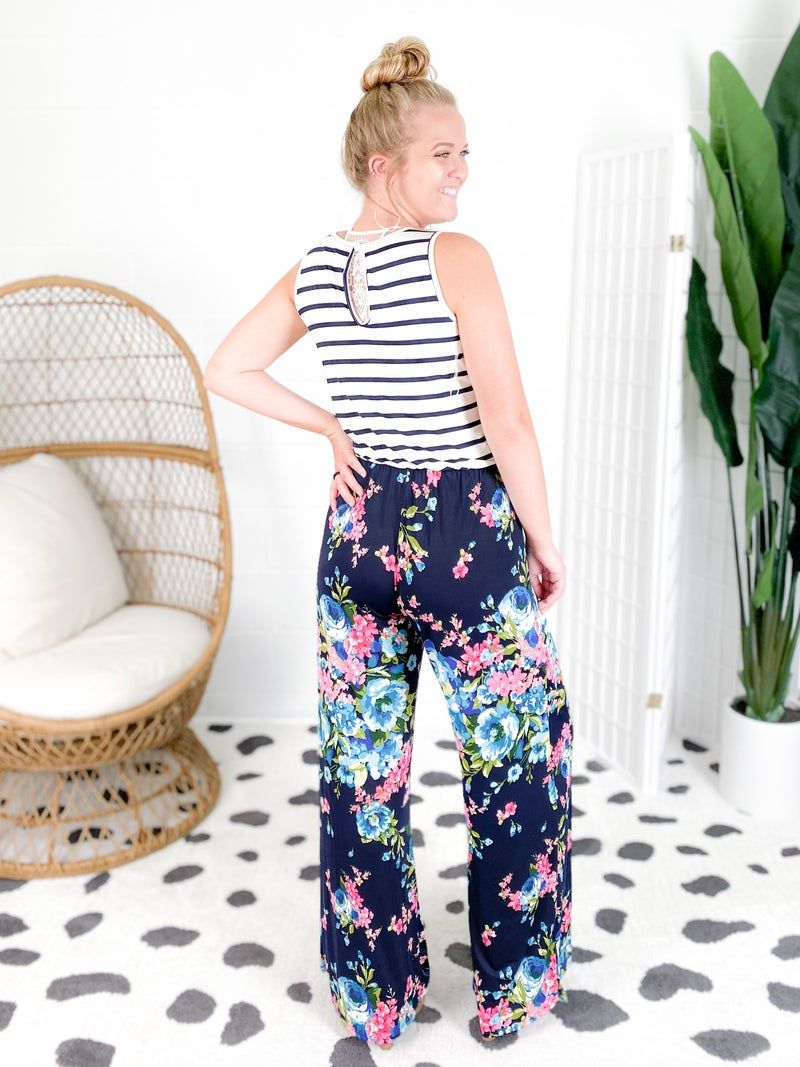 Stripe & Floral Jumpsuit with Keyhole Back