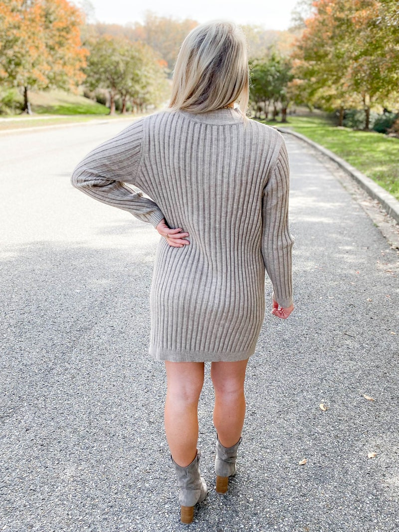 Turtle Neck Ribbed Mocha Sweater Dress