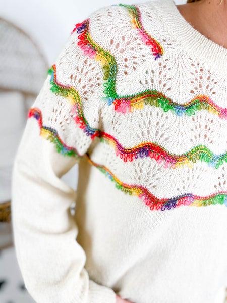 RESTOCK!!! Rainbow Scallop Stripe Knit Sweater