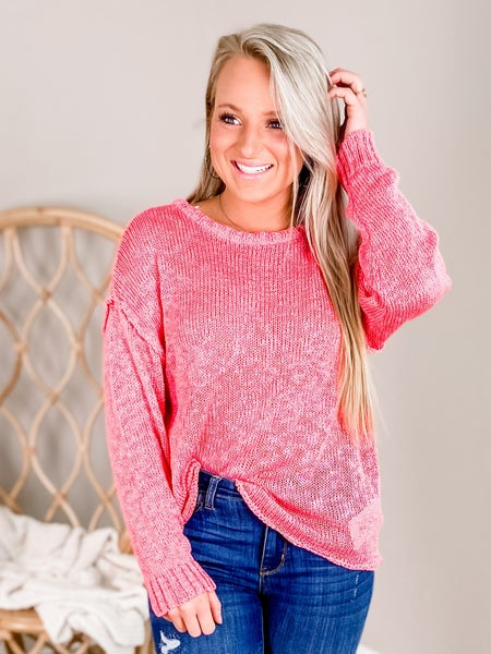 PLUS/REG Pink Long Sleeve Knit Sweater With Reverse Seams