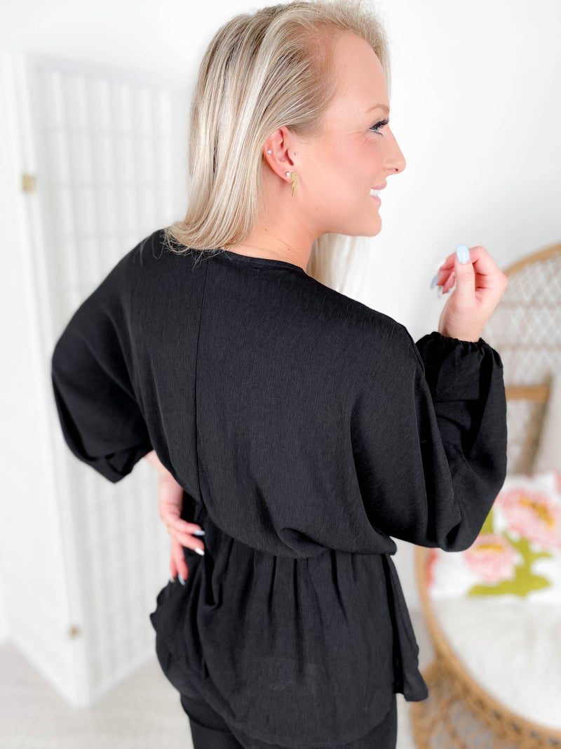 PLUS/REG Black Faux Wrap Blouse with Ruffle and Dolman Sleeves