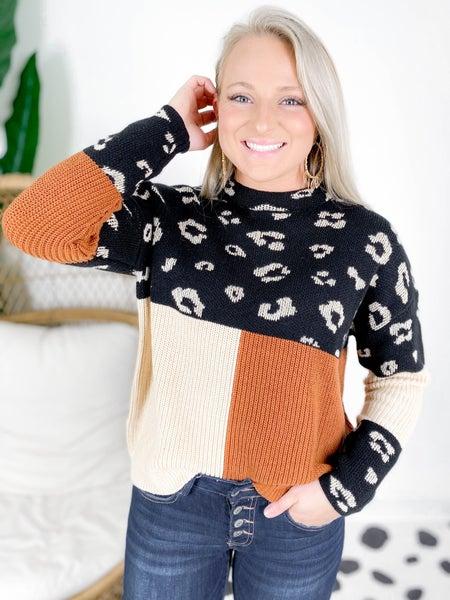 RESTOCK! PLUS/REG Leopard Color Block Sweater