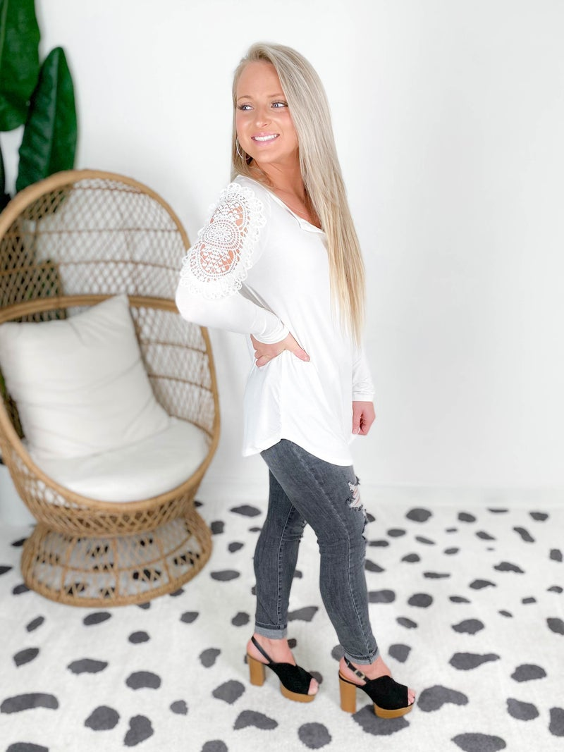Doorbuster! Zenana Lace Trim Long Sleeve Top with Shell Buttons (Multiple Colors)