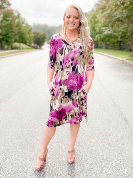 PLUS/REG Honeyme Purple Floral V Neck Dress