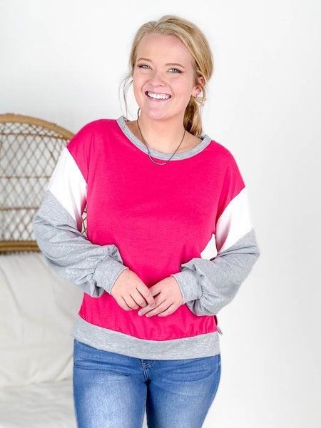 PLUS/REG Hot Pink & Grey Colorblock Top