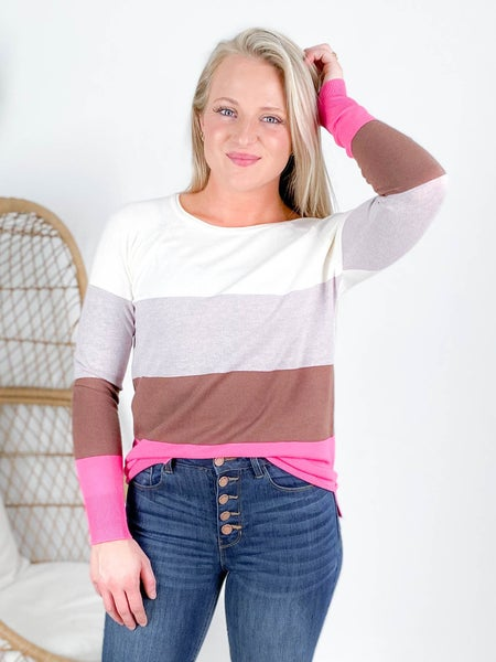 Round Neck Color Block Top With Side Slit Detail