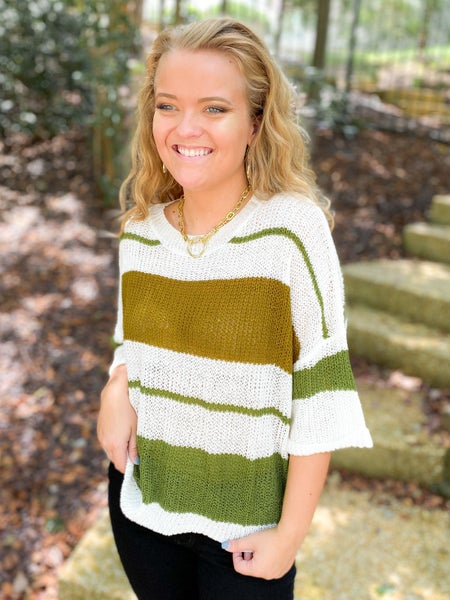 Olive Stripe Mesh Pullover Spring Sweater