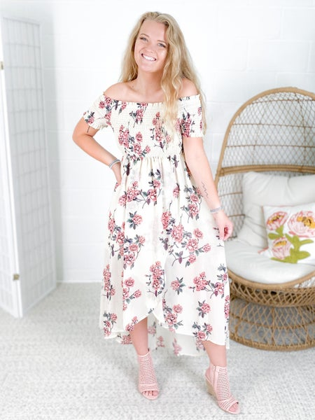 Floral Chiffon Off Shoulder Midi Dress with Smocked Details