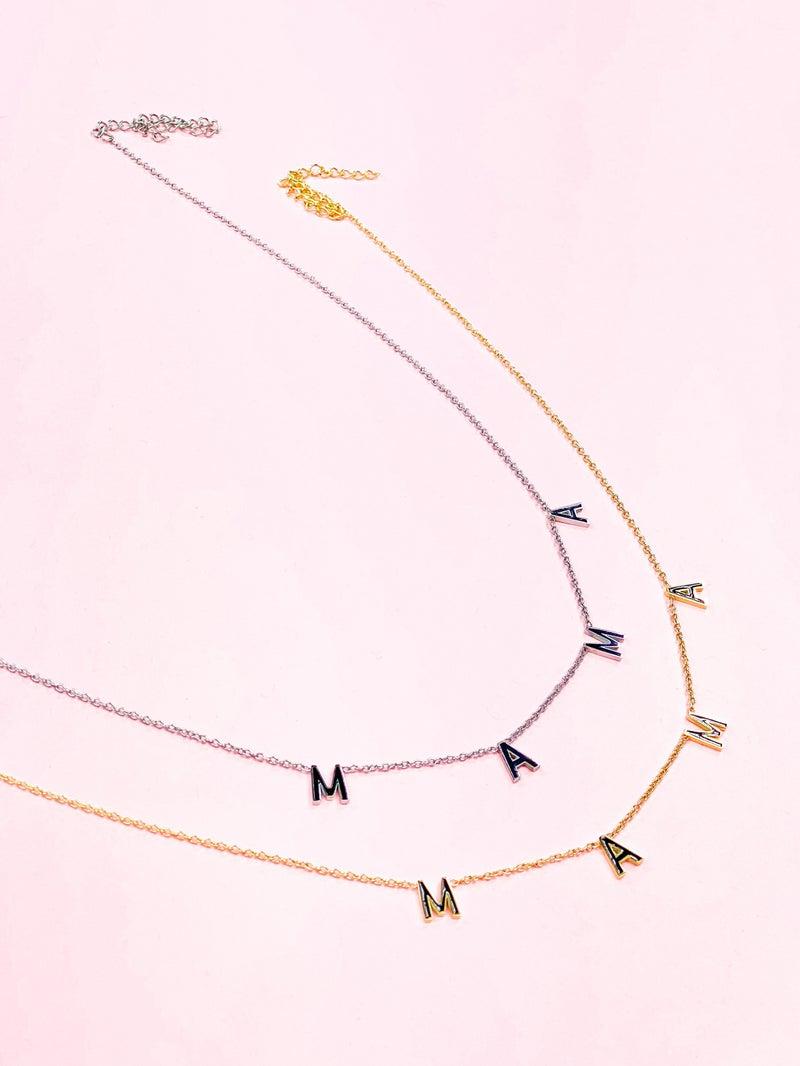 Oak & Ivy Mama with Black Enamel Necklace (Multiple Colors)