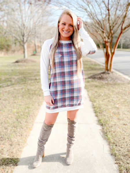 PLUS/REG Plaid Dress With Elbow Patches