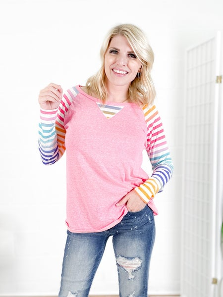 **Pink Triblend Knit Top with Rainbow Stripe Sleeves