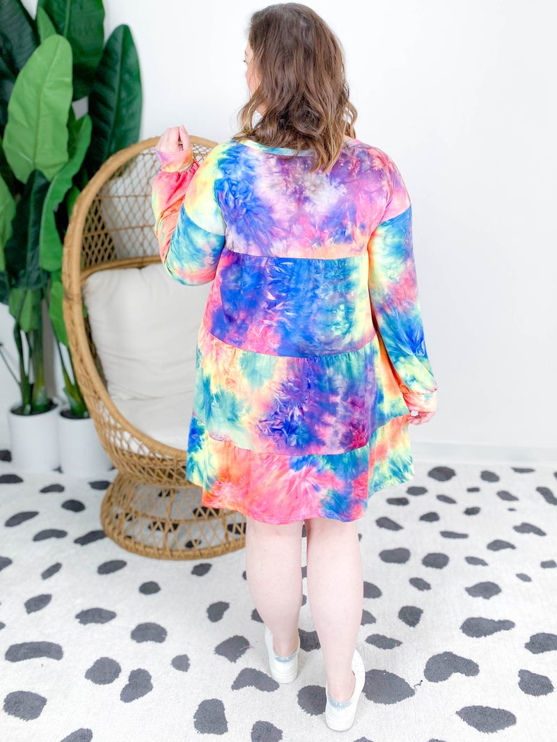 Tiered Tie Dye Long Sleeve Dress With Balloon Sleeves