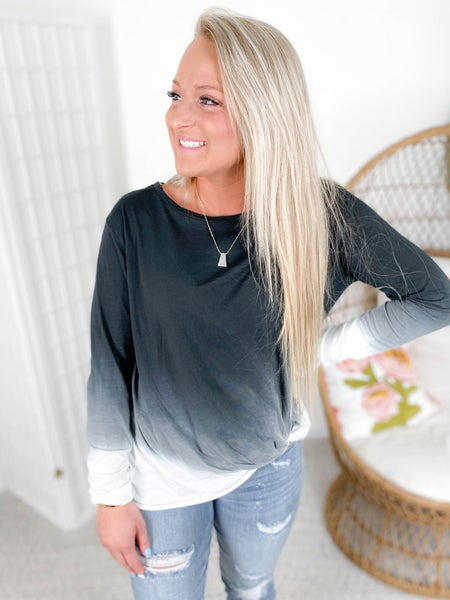 PLUS/REG Ombre Top with Twist Knot and Raw Hem (Multiple Colors)