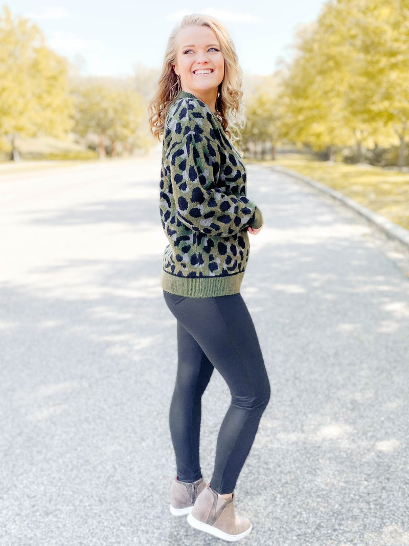 Camouflage Leopard Print Sweater